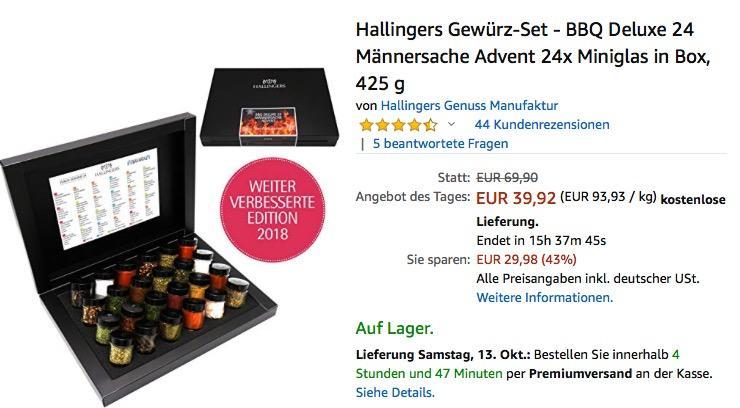 Hallingers Gewürz-Set - BBQ Deluxe 24 Männersache Advent 24x Miniglas in Box