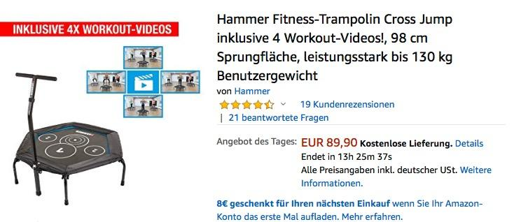 Hammer Cross Jump 98 cm Fitness-Trampolin inklusive 4 Workout-Videos