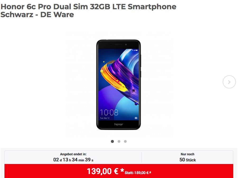 Honor 6c Pro Dual Sim 32GB LTE Smartphone Schwarz - jetzt 7% billiger