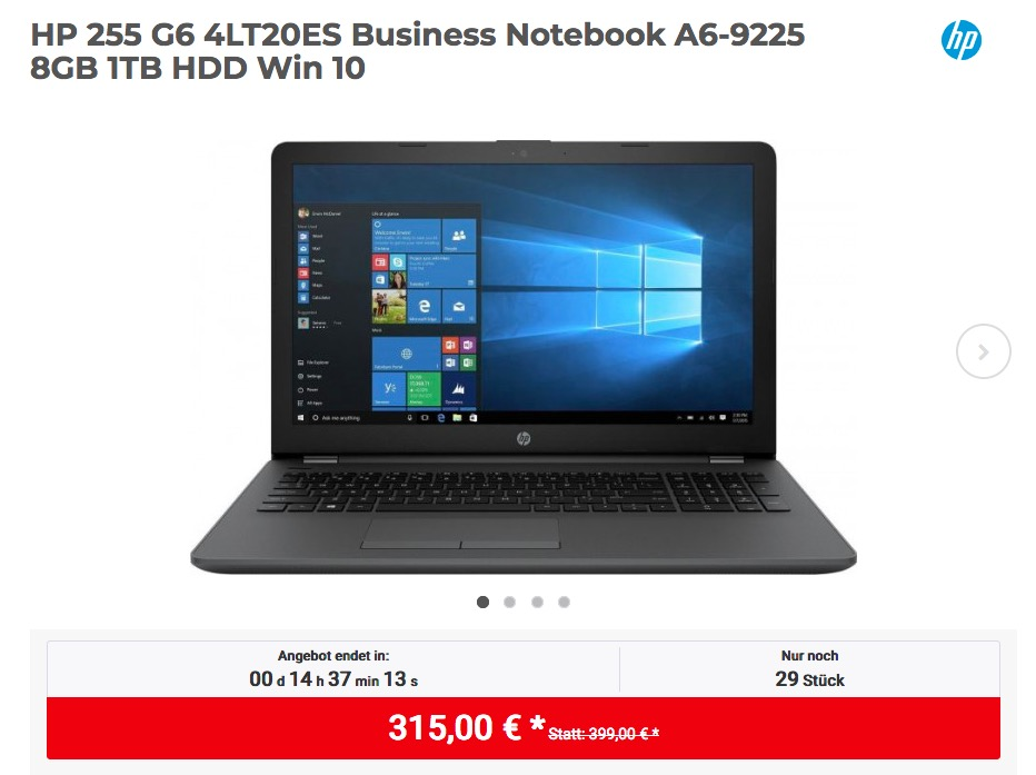HP 255 G6 4LT20ES Business Notebook (A6-9225, 8GB RAM, 1TB HDD, Win 10)