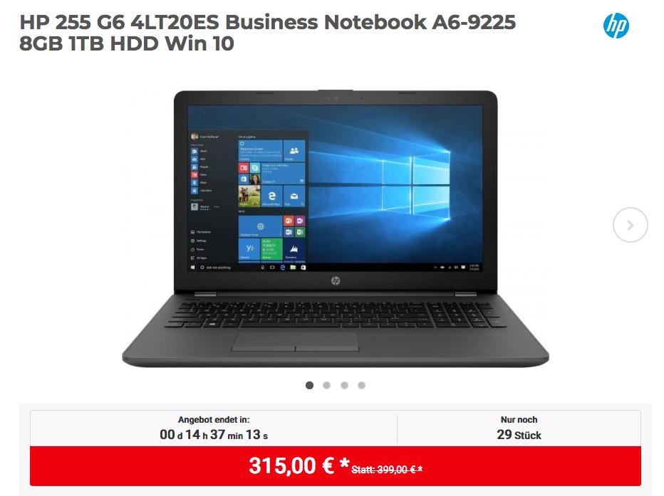HP 255 G6 4LT20ES Business Notebook (A6-9225, 8GB RAM, 1TB HDD, Win 10)