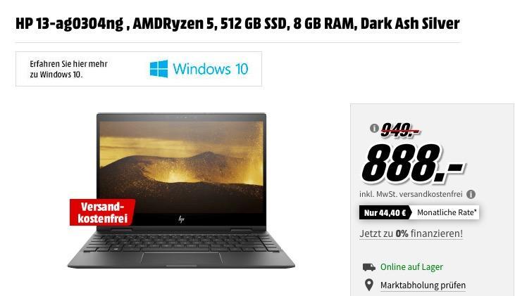 HP ENVY x360 (13-ag0304ng) 2in1 Convertible mit 13.3 Zoll Display, AMD Ryzen 5 2500U, 8 GB RAM, 512 GB SSD