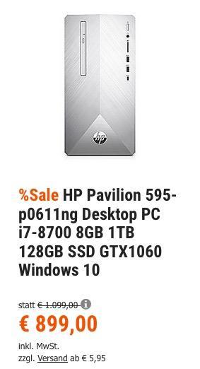 HP Pavilion 595-p0611ng Desktop PC ( i7-8700, 8GB Ram, 1TB HDD, 128GB SSD, GTX1060, Windows 10 )