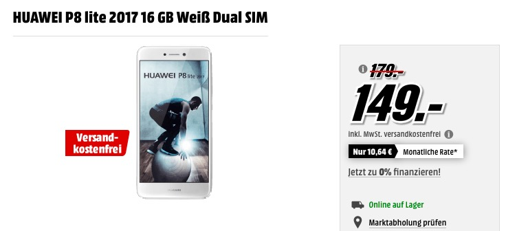 HUAWEI P8 lite 2017 16 GB Weiß Dual SIM