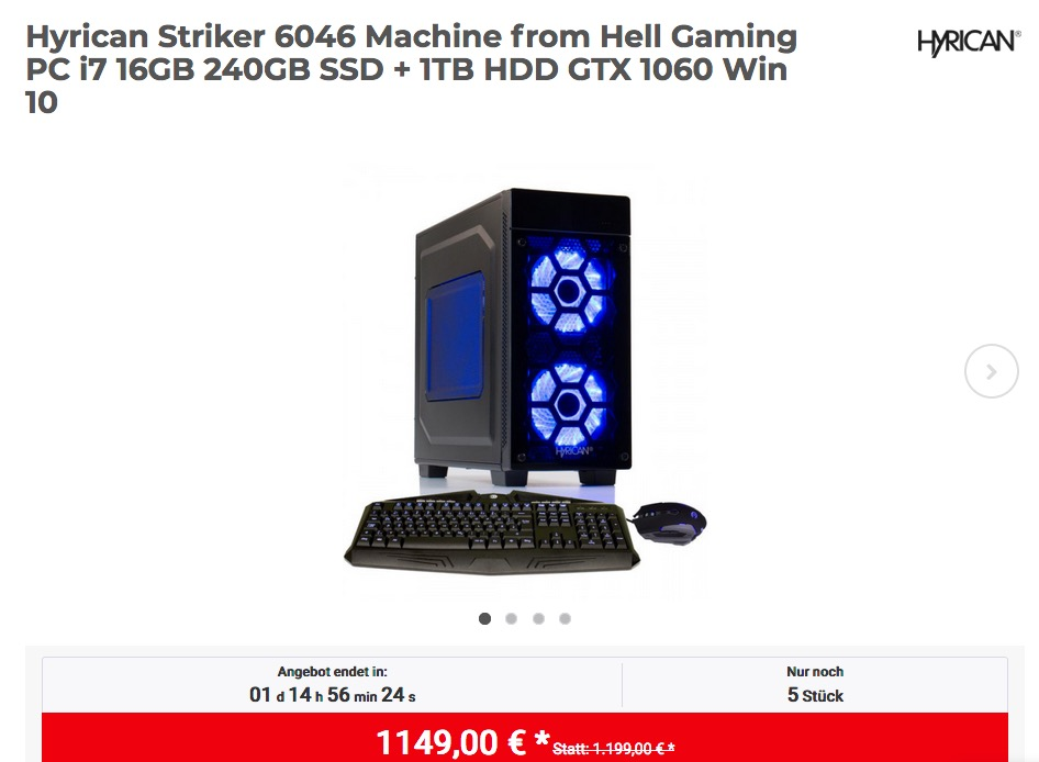 Hyrican Striker 6046 Machine from Hell Gaming PC (i7, 16GB, 240GB SSD + 1TB HDD, GTX 1060 6GB, Win 10) - jetzt 4% billiger