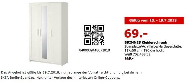 IKEA Berlin-Spandau BRIMNES Kleiderschrank 117x50 cm, 190 cm hoch
