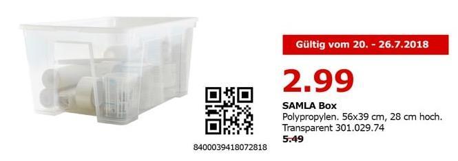 IKEA Berlin-Spandau SALMA Box, 56x39 cm, 28 cm hoch. Transparent