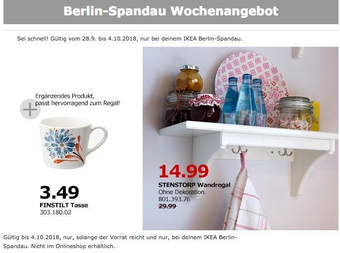 IKEA Berlin-Spandau - STENSTORP Wandregal - jetzt 50% billiger