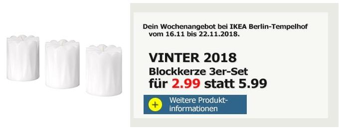 IKEA Berlin-Tempelhof - VINTER 2018 Blockkerze 3er-Set