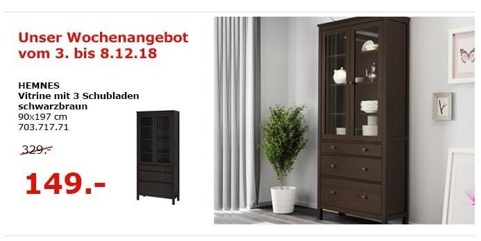 IKEA Berlin-Waltersdorf - HEMNES Vitrine mit 3 Schubladen