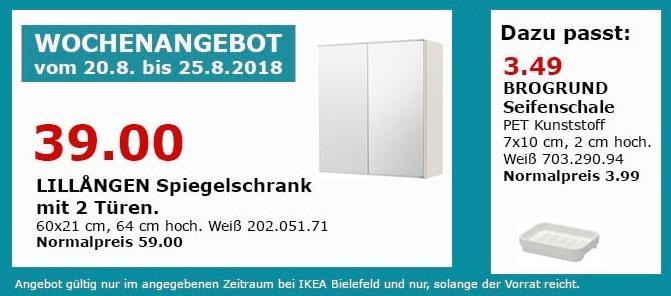 IKEA Bielefeld LILLANGEN Spiegelschrank mit 2 Türen