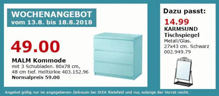 IKEA Bielefeld MALM Kommode mit 3 Schubladen, helltürkie
