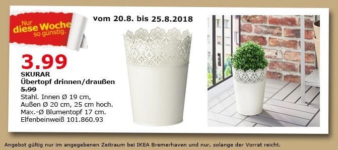 IKEA Bremerhaven SKURAR Übertopf drinnen/draußen - jetzt 33% billiger