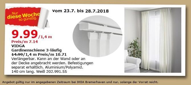 IKEA Bremerhaven  VIDGA Gardinenschiene 3-läufig - jetzt 33% billiger