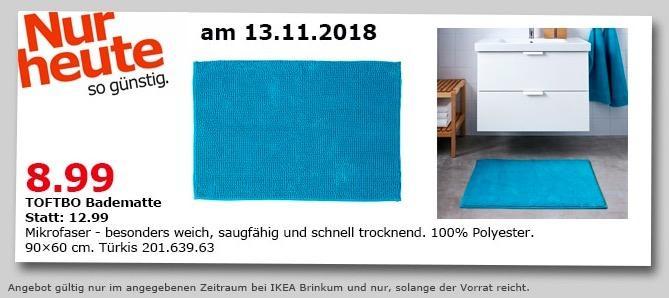 IKEA Brinkum - TOFTBO Badematte, 90x60 cm, türkis