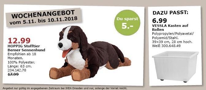 IKEA Dresden - HOPPIG Stofftier Berner Sennenhund - jetzt 28% billiger
