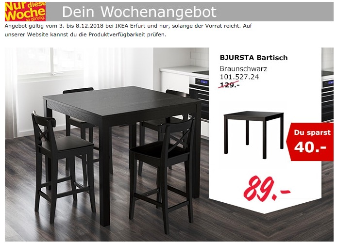 IKEA Erfurt - BJURSTA Bartisch