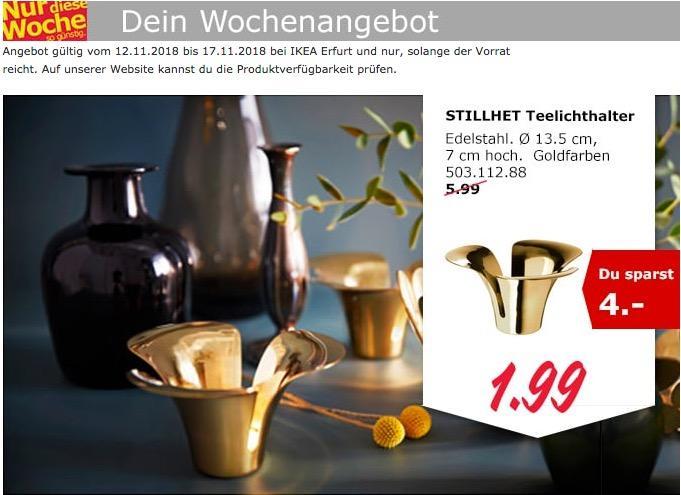 IKEA Erfurt - STILLHET Teelichthalter, goldfarben