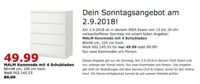 IKEA Essen - MALM Kommode mit 4 Schubladen