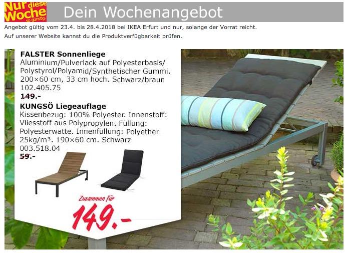 IKEA FALSTER Sonnenliege  + KUNGSÖ Liegeauflage
