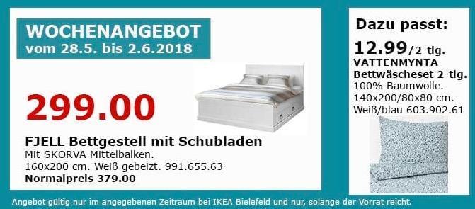 IKEA FJELL Bettgestell mit Schubladen 160x200 cm