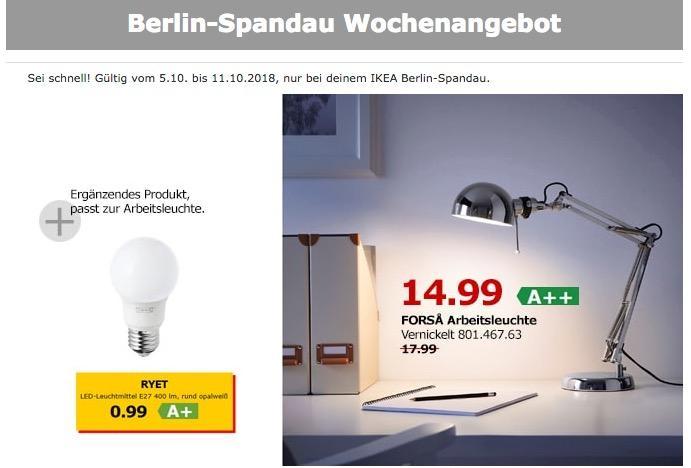 IKEA FORSA Arbeitsleuchte - jetzt 17% billiger