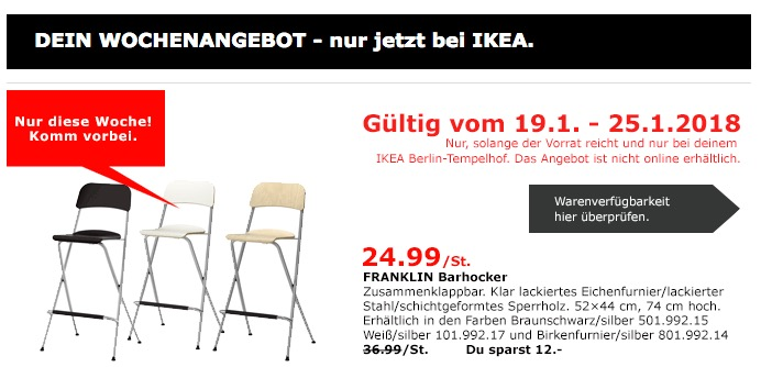IKEA FRANKLIN Barhocker