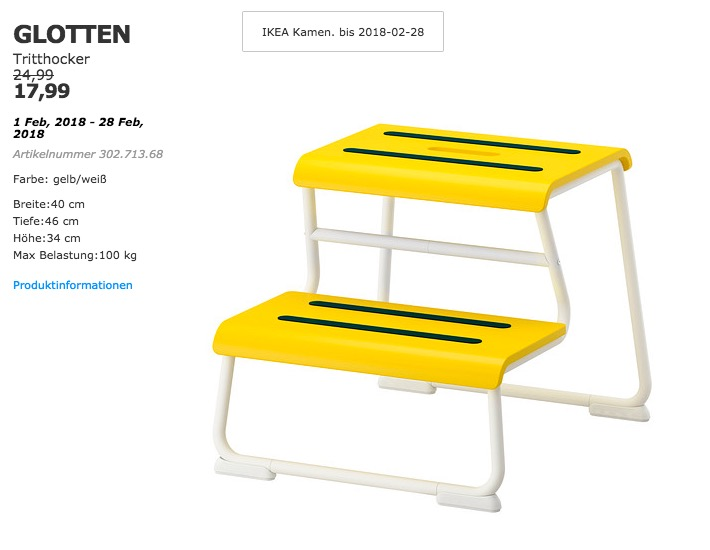 IKEA GLOTTEN Tritthocker