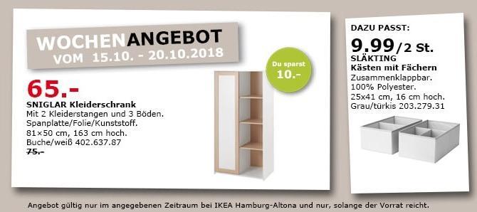 IKEA Hamburg-Altona - SNIGLAR Kleiderschrank - jetzt 13% billiger