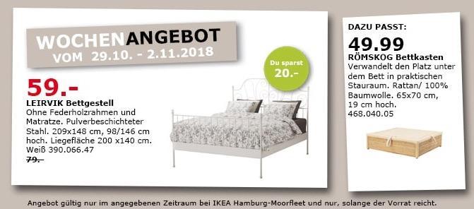 IKEA Hamburg-Moorfleet - LEIRVIK Bettgestell, Liegefläche 200x140 cm - jetzt 25% billiger