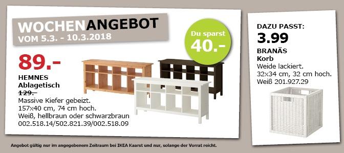 IKEA HEMNES Ablagetisch