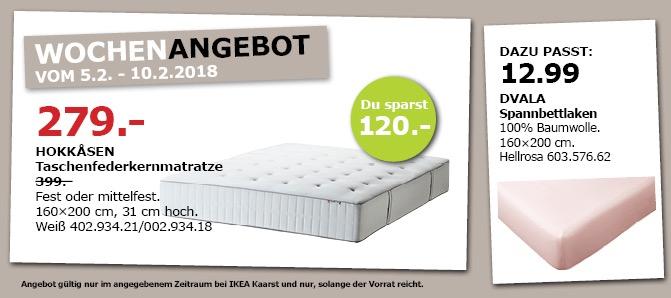 IKEA HOKKASEN Taschenfederkernmatratze