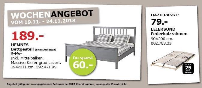 IKEA Kaarst - HEMNES Bettgestell, 194x211 cm, grau