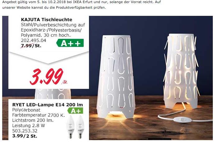 IKEA KAJUTA Tischleuchte - jetzt 50% billiger
