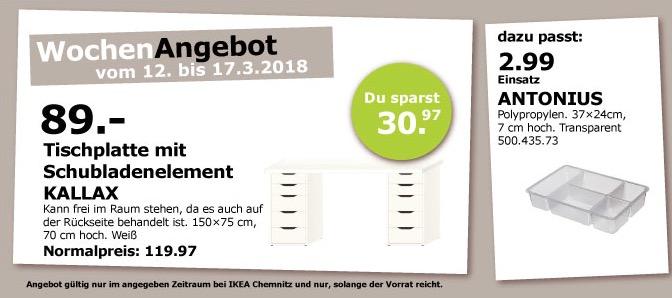 IKEA KALLAX Tischplatte mit Schubladenelement