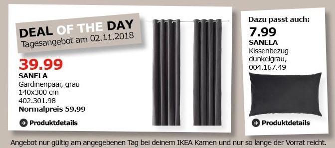 IKEA Kamen - SANELA Gardinenpaar, grau, 140x300 cm