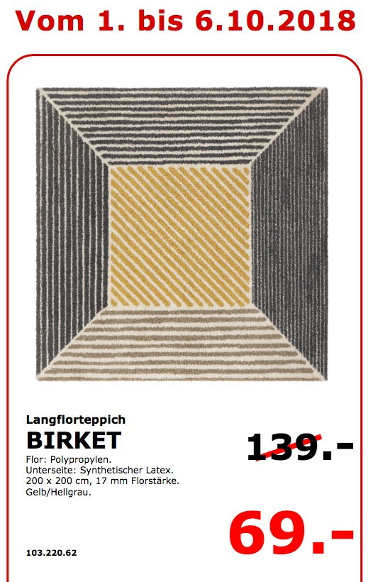 IKEA Koblenz - BIRKET Langflorteppich 200x200 cm