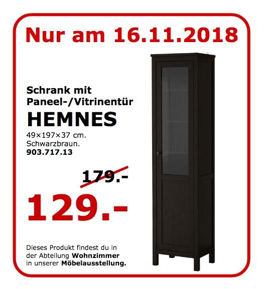 IKEA Koblenz - HEMNES Schrank mit Pannen-/Vitrinentür, schwarzbraun
