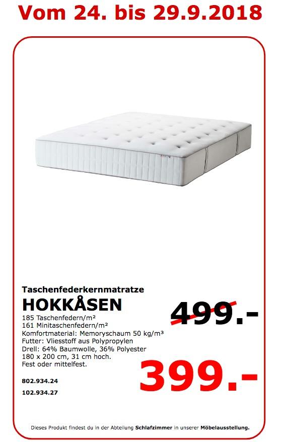 IKEA Koblenz - HOKKASEN Taschenfederkernmatratze
