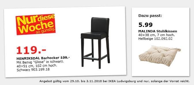 IKEA Ludwigsburg - HENRIKSDAL Barhocker, schwarz - jetzt 14% billiger