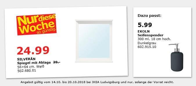 IKEA Ludwigsburg - SILVERAN Spiegel mit Ablage - jetzt 36% billiger