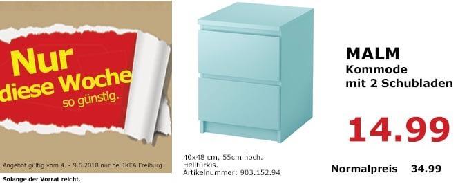 IKEA MALM Kommode mit 2 Schubladen, helltürkis