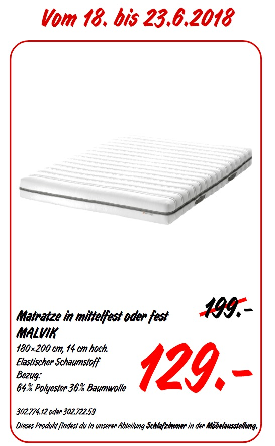 IKEA MALVIK Matratze 180x200 cm, 14 cm hoch