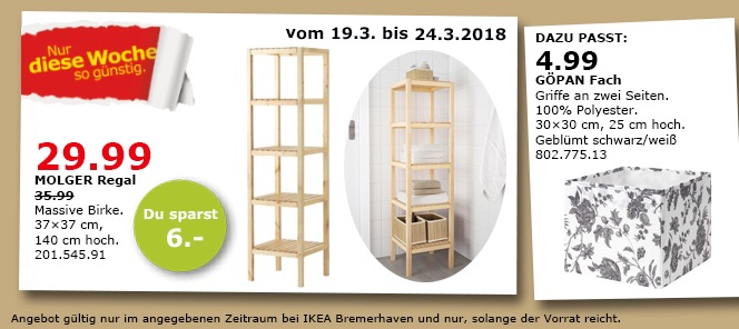 IKEA MOLGER Regal massive Birke 37x37x140 cm für 29,99€