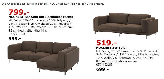 IKEA NOCKEBY 3er-Sofa mit Récamiere rechts