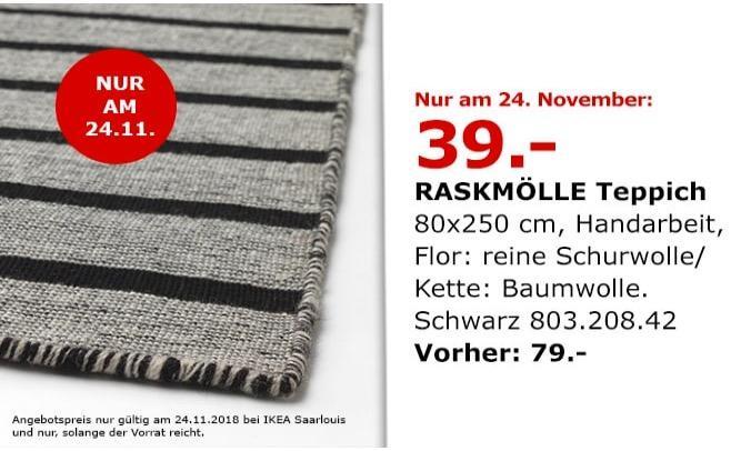 IKEA Saarlouis - RASKMÖLLE Teppich, 80x250 cm, schwarz