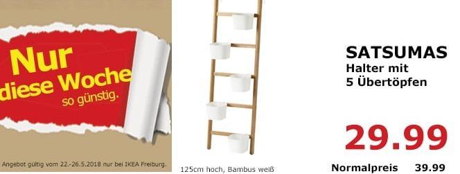 IKEA SATSUMUS Halter mit 5 Übertöpfen