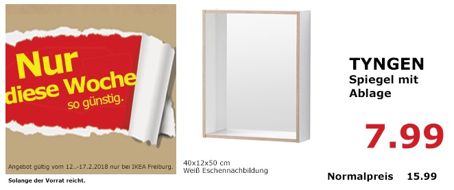 IKEA TYNGEM Spiegel mit Ablage