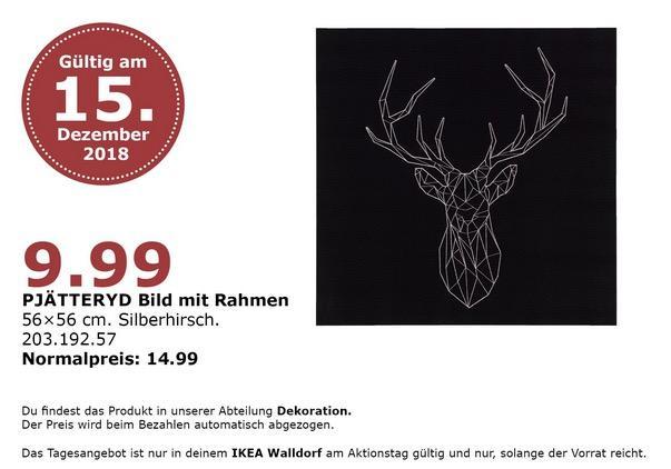 IKEA Walldorf - PJÄTTERYD Bild mit Rahmen, Silberhirsch