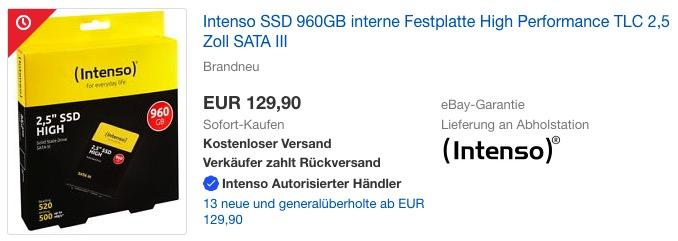 Intenso High Performance 960 GB interne SSD-Festplatte